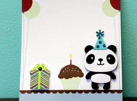 Happy birthday panda card birthday hat foam adhesive panda and say happy birthday to someone with a panda card the card features a panda with bookmarktalkfo Choice Image