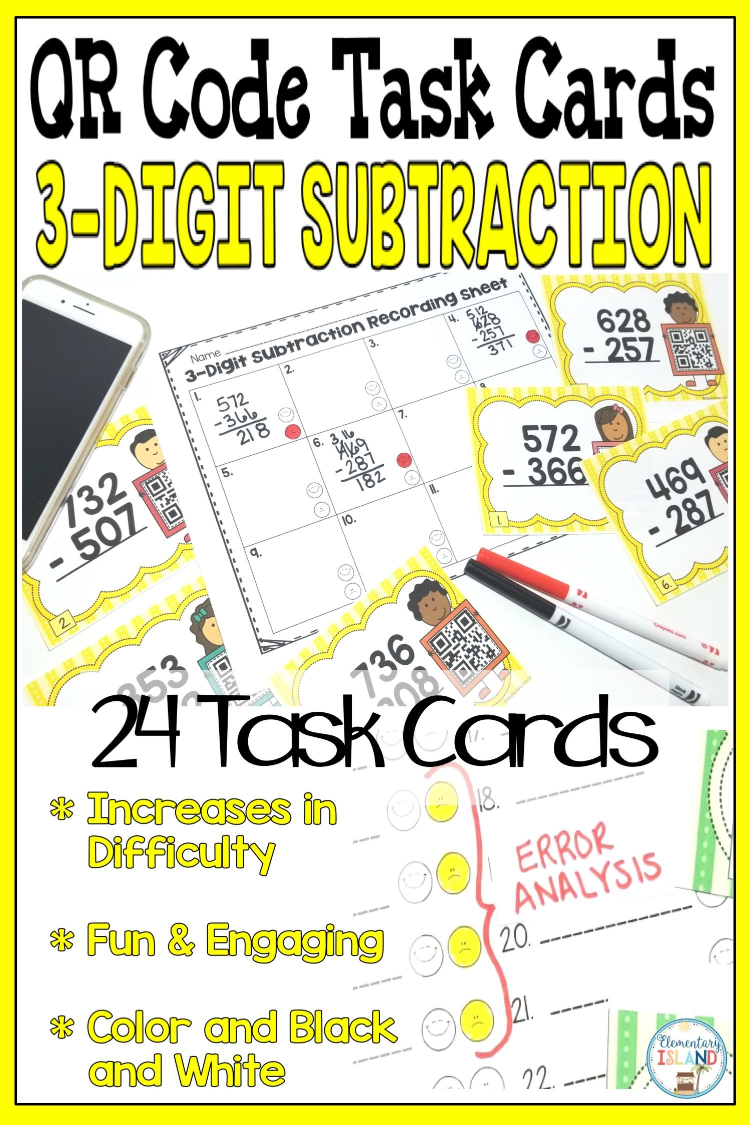 3 Digit Subtraction With Regrouping Qr Task Cards