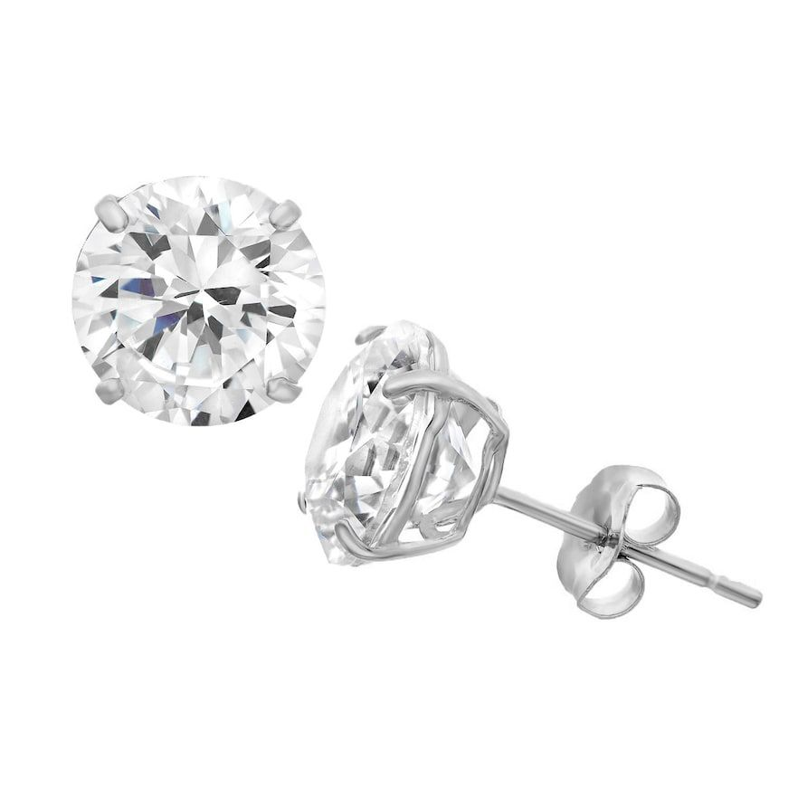 14k Gold Cubic Zirconia Stud Earrings Women S White 14k Gold Earrings Studs