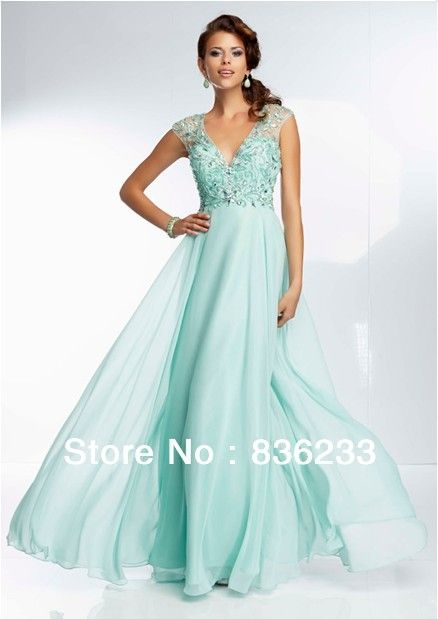 2014 New Stunning Mint A Line V Neck Cap Sleeve Prom Dresses ...