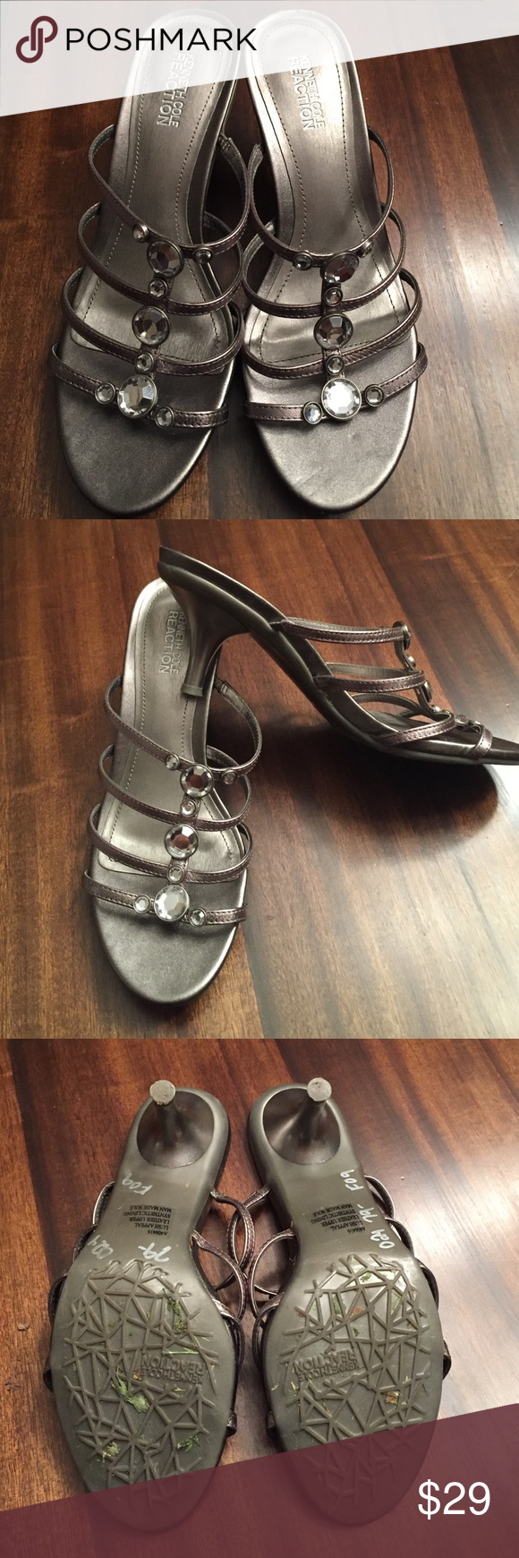 ce6dcb5ddf9 Kenneth Cole reaction pewter sandals 7m Kenneth Cole Reaction pewter silver  sandals size 7m these were