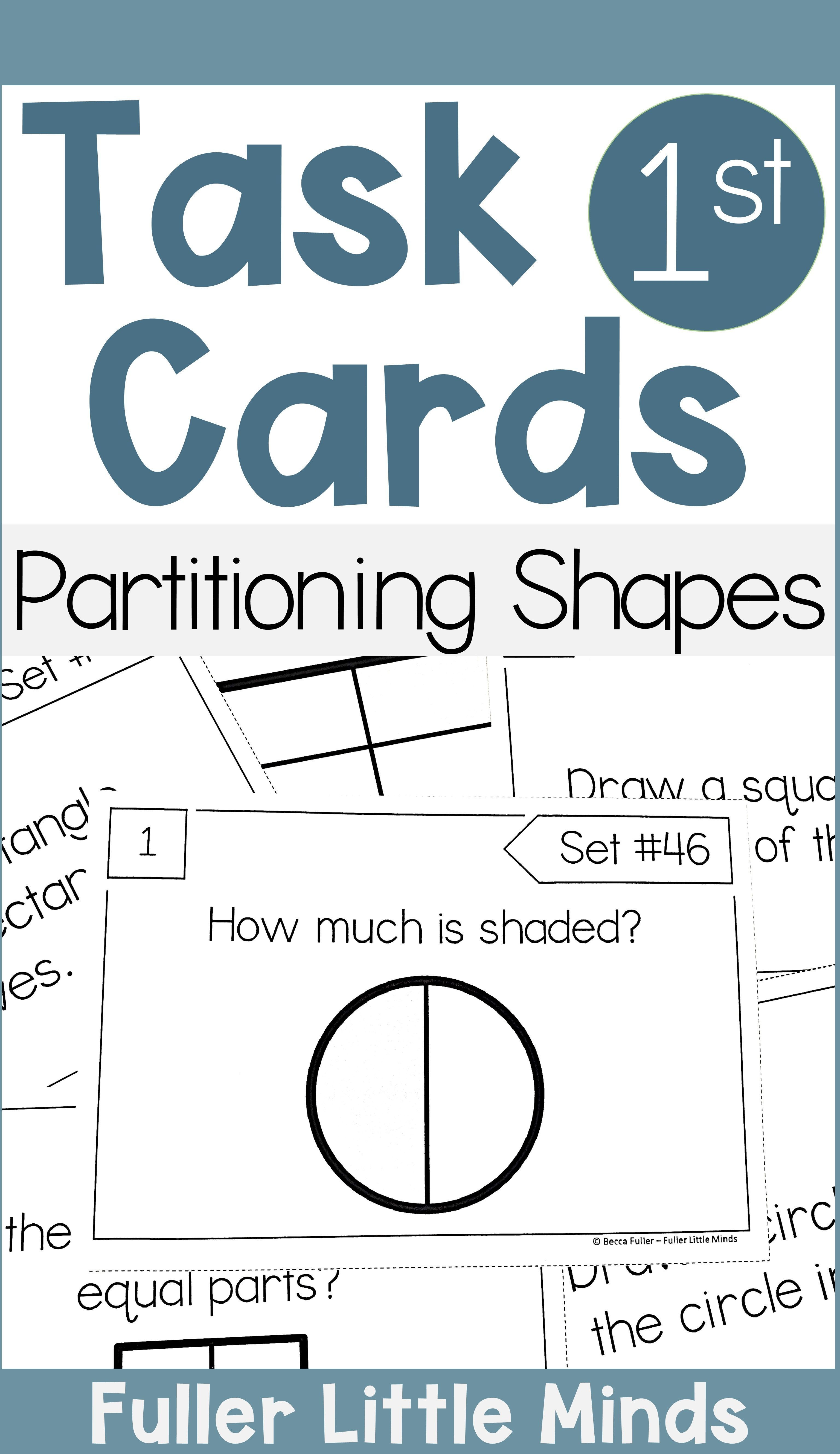 Partitioning Shapes 1st Grade Math Task Cards In 2020 1st Grade Math Math Task Cards Math Tasks