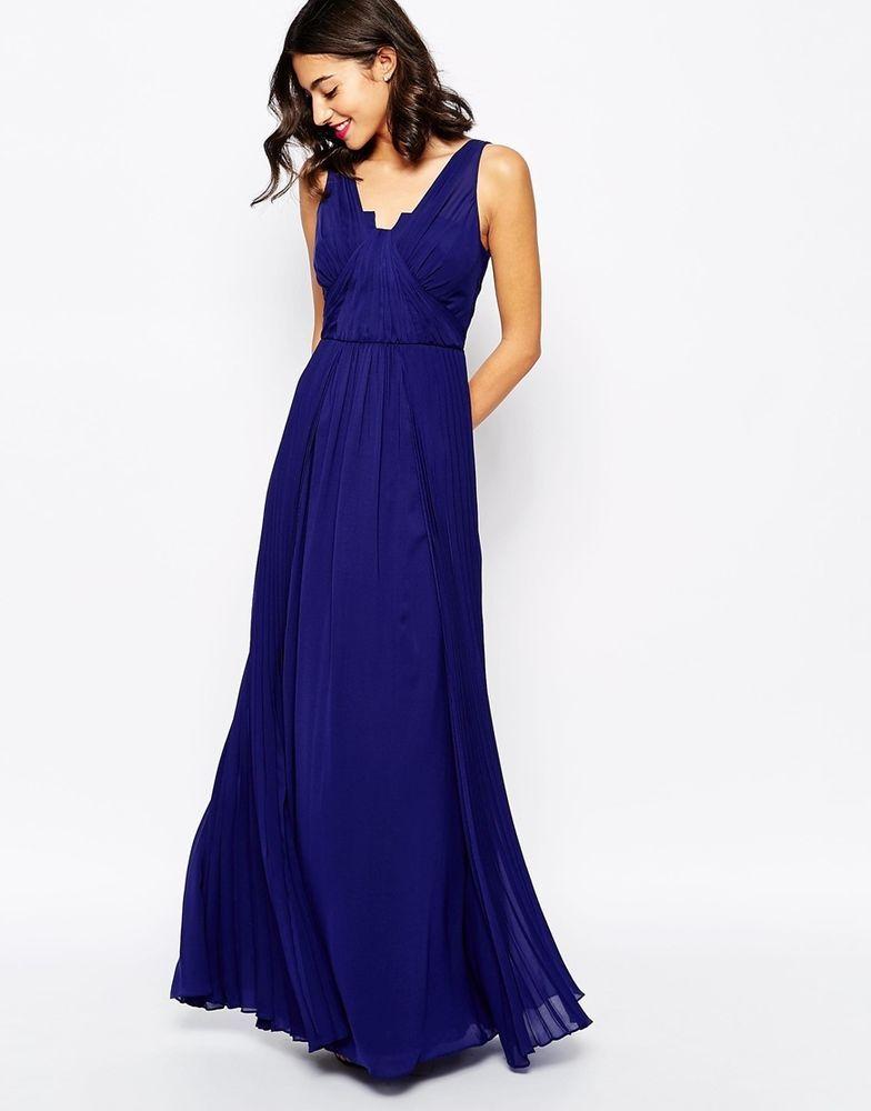 Coast @ ASOS Chiffon Pleated Maxi Dress Blue UK 12/EU 40/US 8 RRP ...