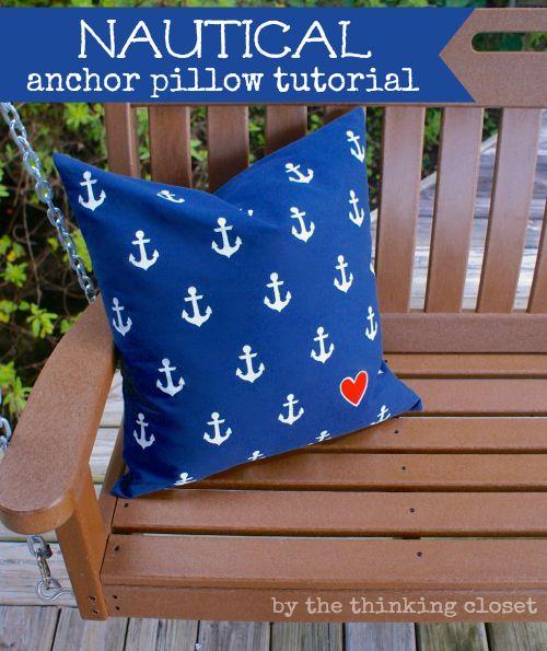 DIY Nautical Anchor Pillow Tutorial & Free Silhouette Cut File