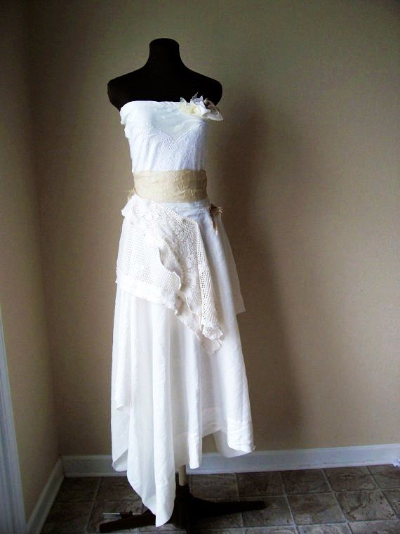 Romantic informal wedding dress cotton vintage crochet for Rustic vintage wedding dresses