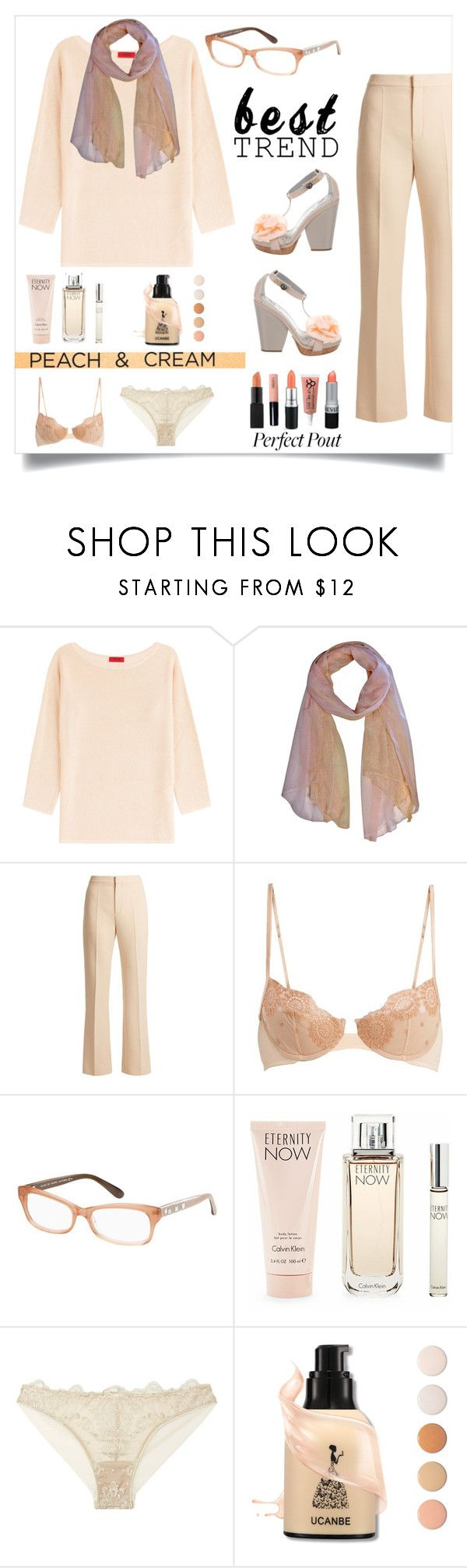 """""""best trend/peaches and cream"""" by im-karla-with-a-k ❤ liked on Polyvore featuring HUGO, Chloé, La Perla, Marc by Marc Jacobs, Calvin Klein, I.D. SARRIERI, Reed Krakoff and peachlipstick"""