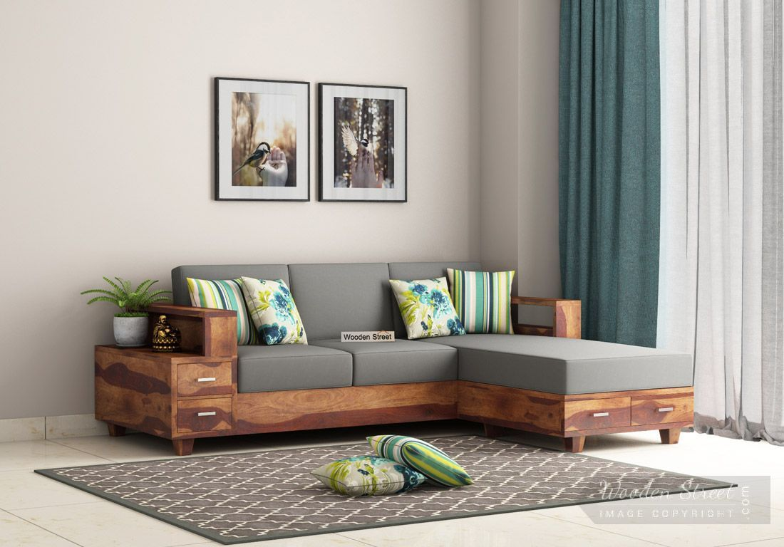 Buy Solace L Shaped Wooden Sofa Teak Finish Online In India Wooden Street In 2020 Wooden Sofa Designs Corner Sofa Design Wooden Sofa Set