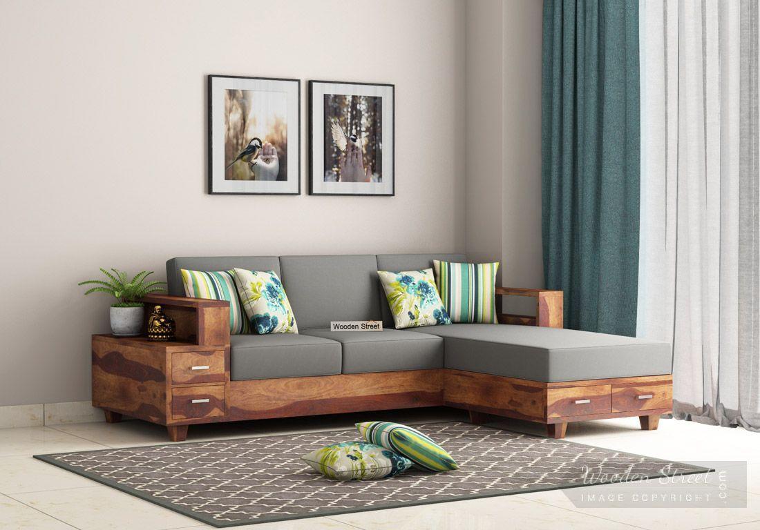 Buy Solace LShaped Wooden Sofa (Teak Finish) Online in