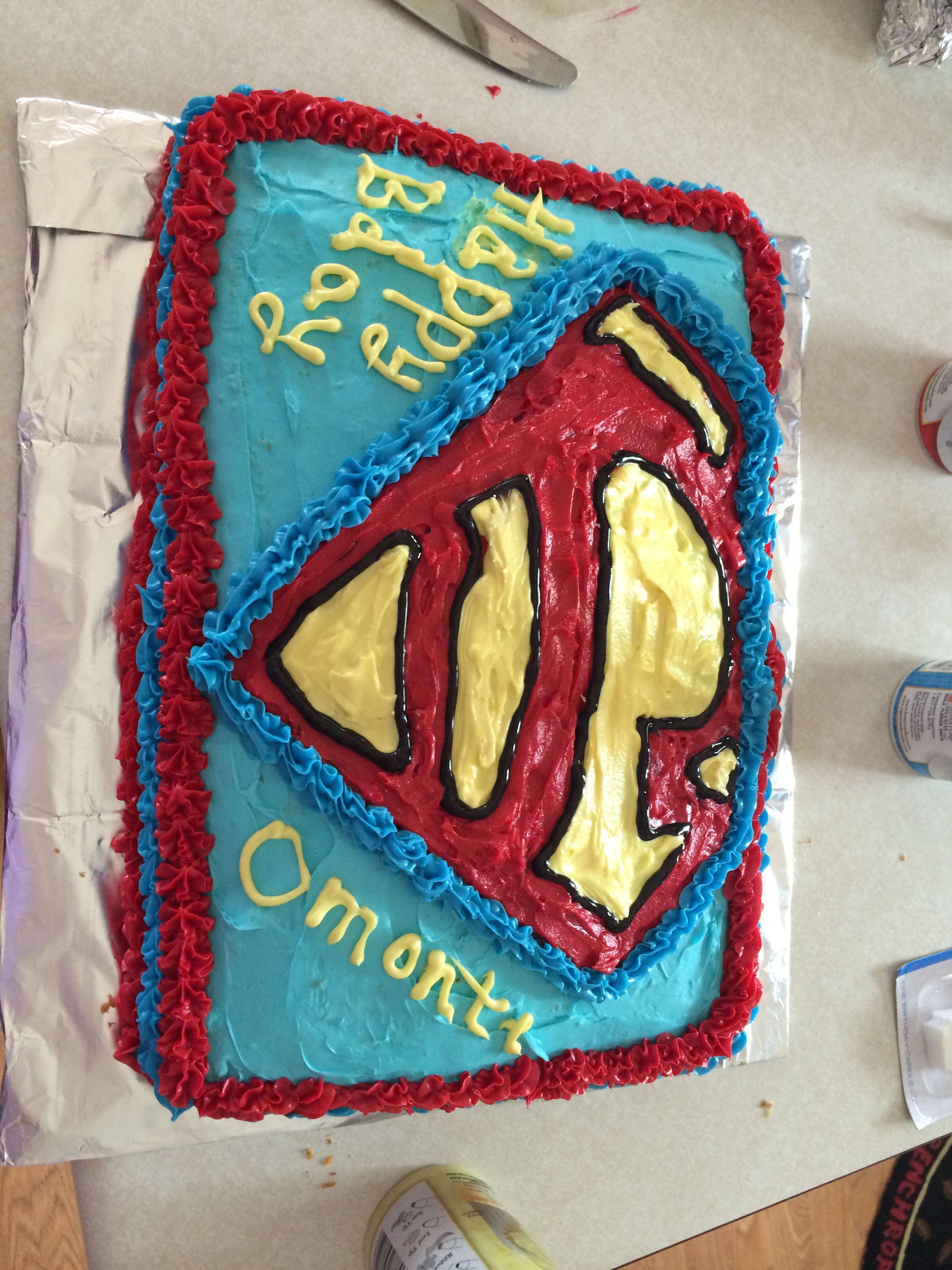 Superman birthday cake made it myself Super easy Food