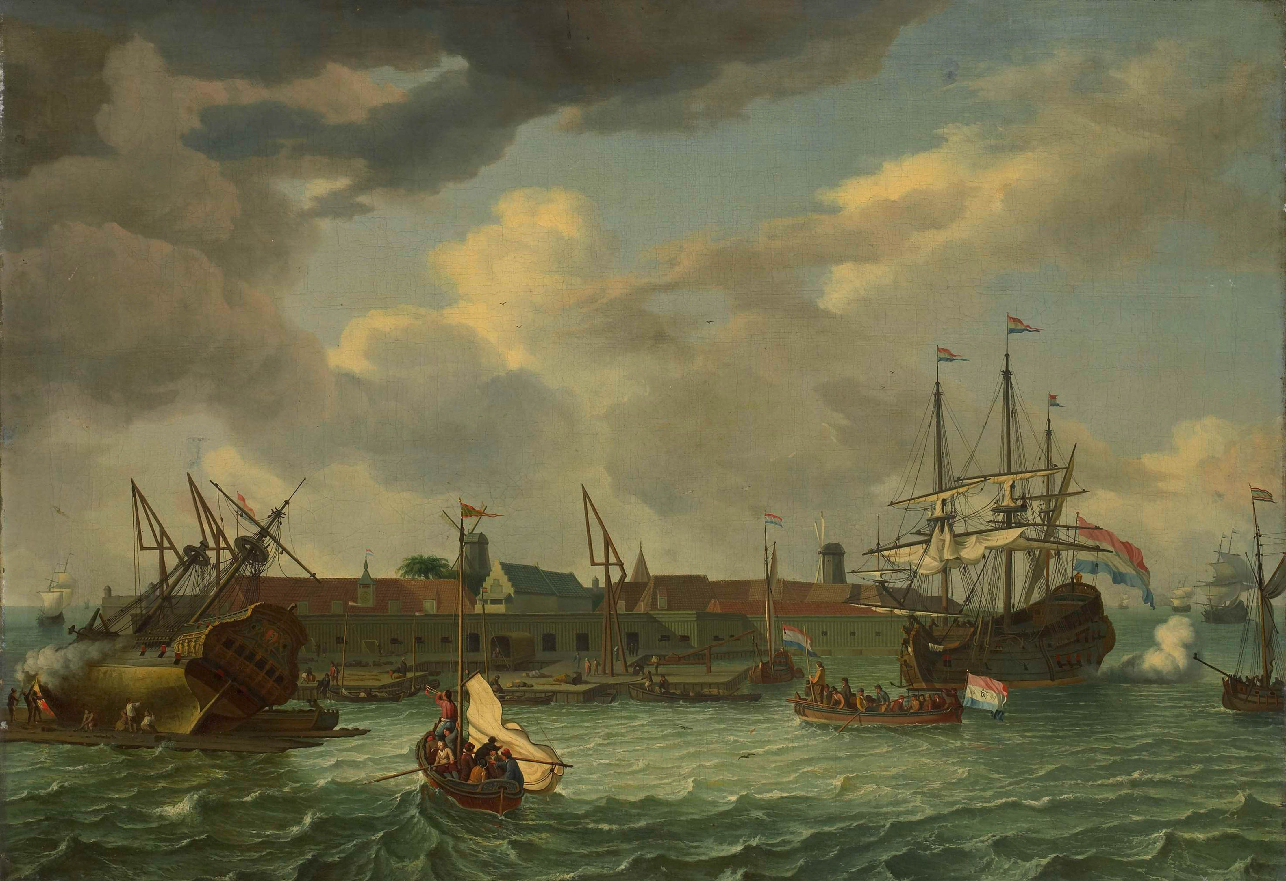 This 17th century piece of art was painted by the master Unknown in 1699. Furthermore, this artwork belongs to the Rijksmuseum's collection, which is the largest museum for Dutch art and history from the Middle Ages to the present day. This public domain artwork is being supplied with courtesy of Rijksmuseum.Creditline of the artwork: . What is more, the alignment of the digital reproduction is in landscape format with a side ratio of 3 : 2, meaning that the length is 50% longer than the width.