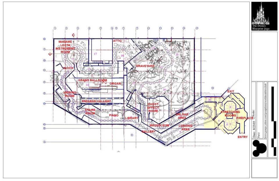 Haunted Mansion Magic Kingdom track layout blueprint