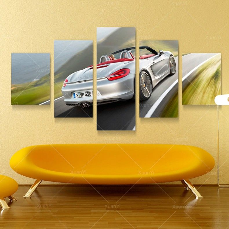 5 Panel Modern Printed Luxury Car Picture Oil Painting Cuadros ...