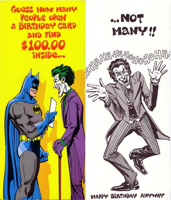 Batman and the joker vintage birthday card my hero batman and the joker vintage birthday card bookmarktalkfo Gallery