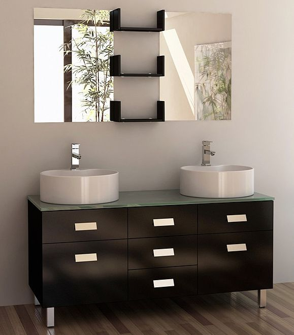 55 Inch Modern Double Vessel Sink Bathroom Vanity Set Double