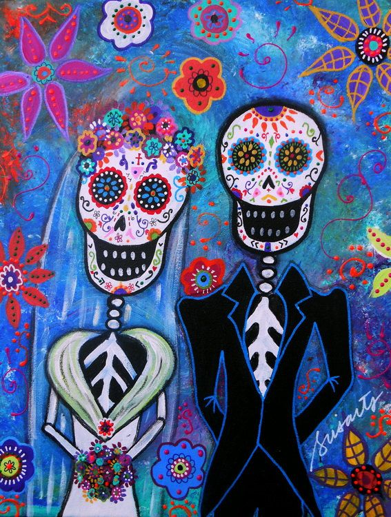 Folk Art Painting Mexican Day Of The Dead Wedding