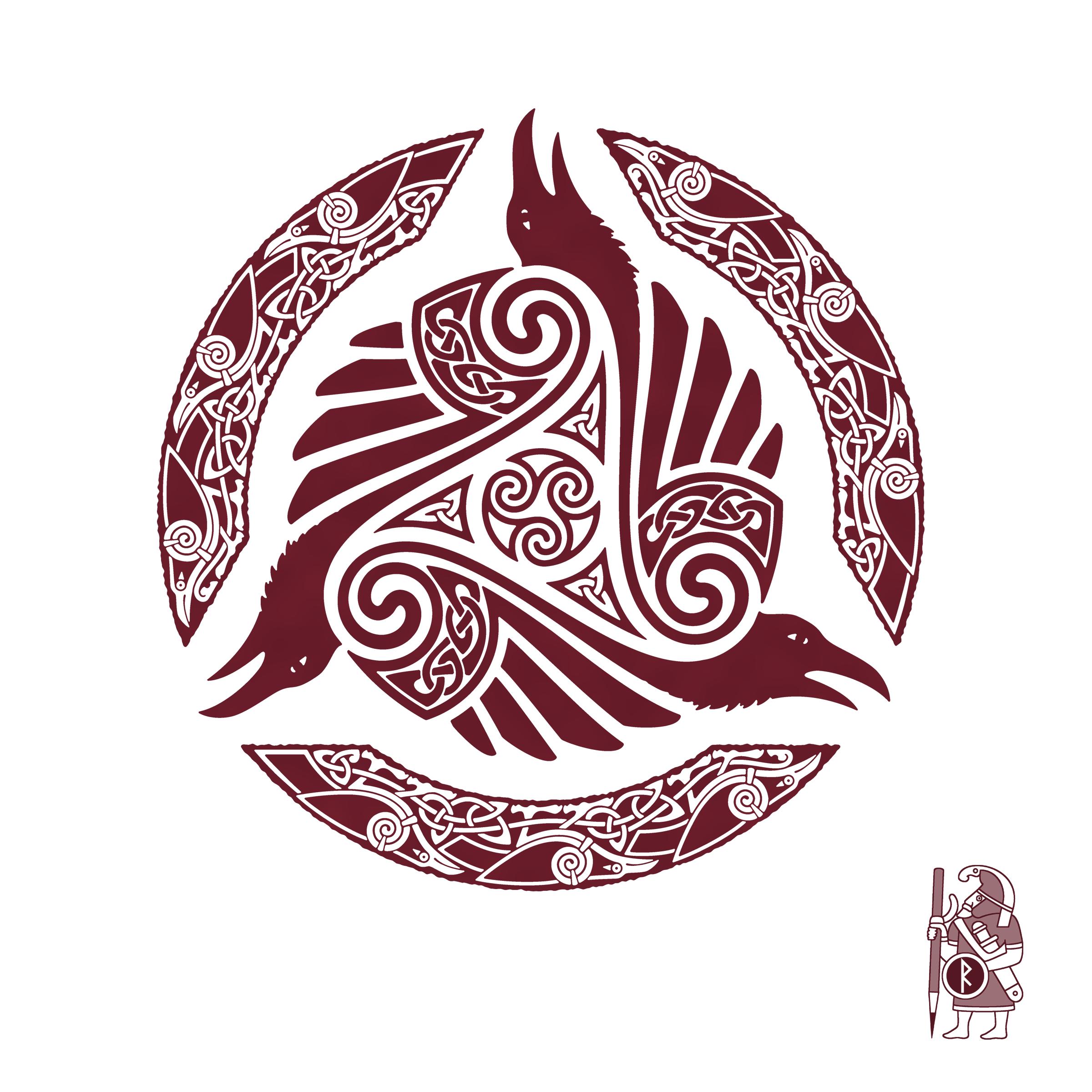 Raven Viking Tattoo: RAVEN'S FEAST. Ravens And Triskele Knotwork Tattoo Design