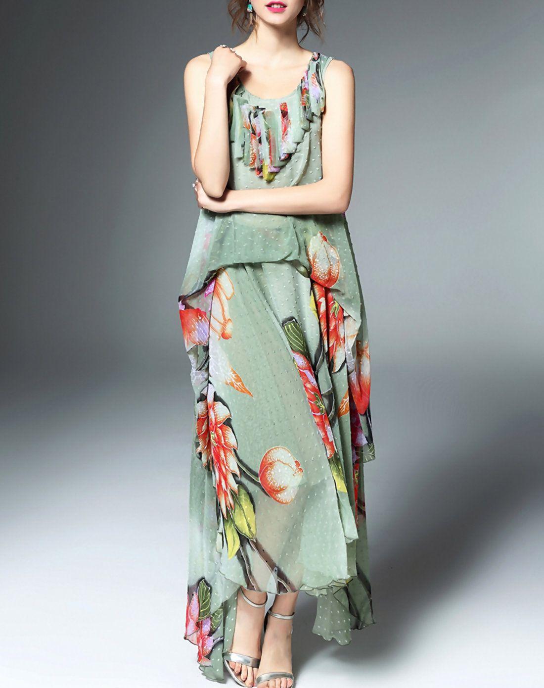 #AdoreWe #VIPme Skater Dresses - Elenyun Summer Green Silk Floral Print Flare Flounce Maxi Dress - AdoreWe.com