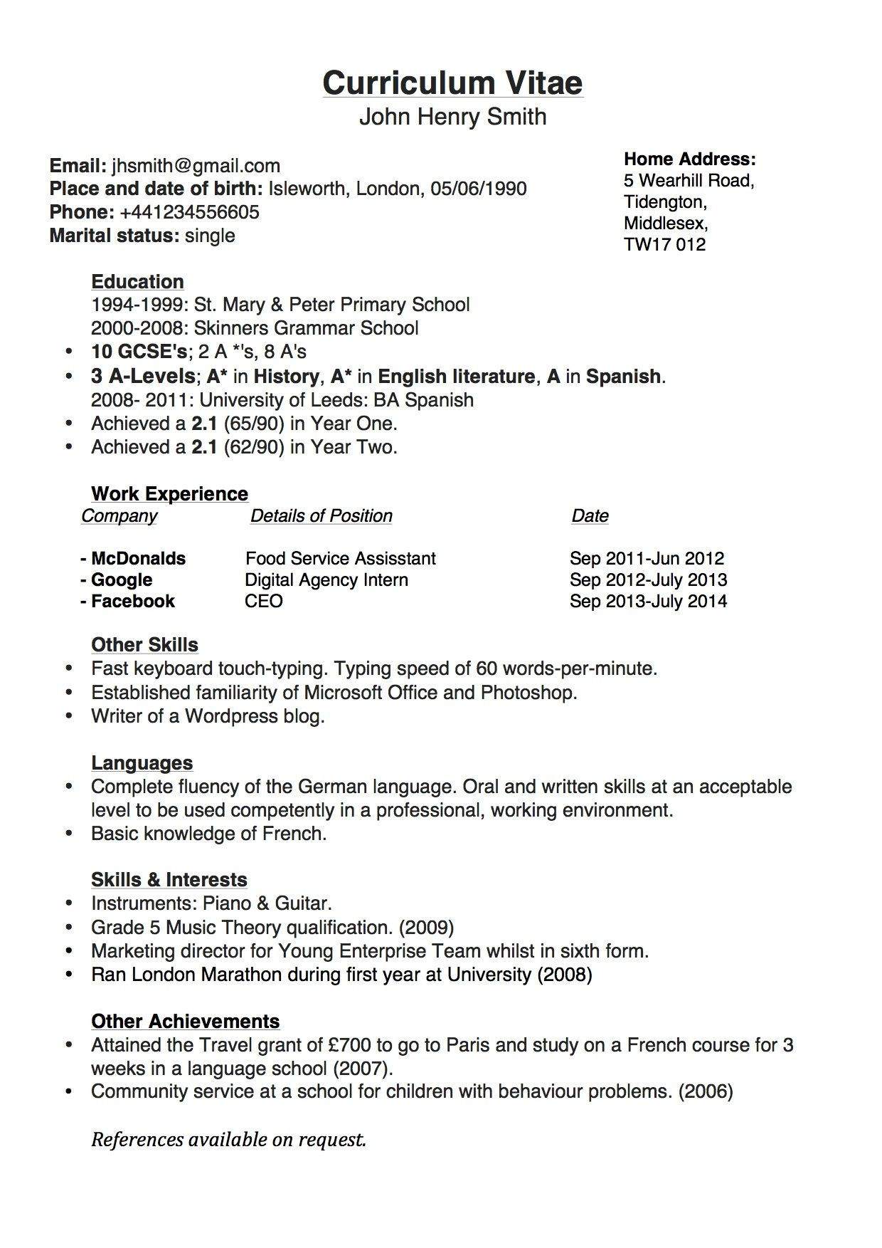 Resume Format Template Curriculum Vitae Template  Google Search  Resumes  Pinterest