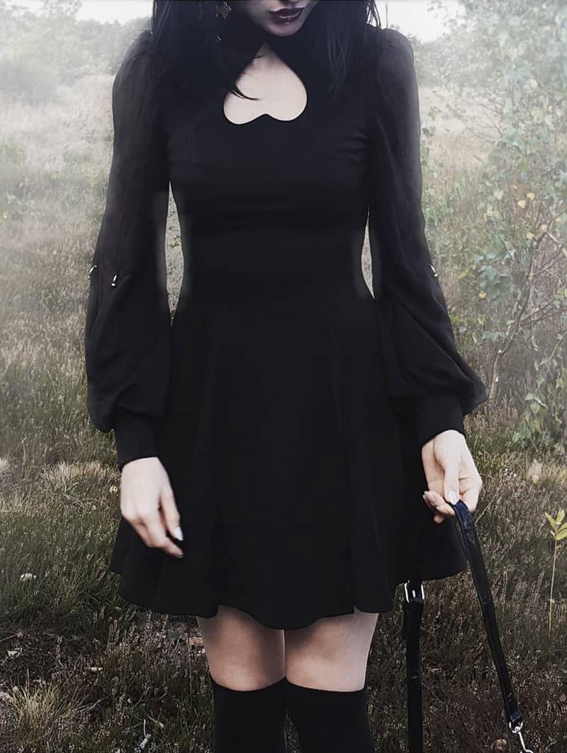 Punk Rave Black Gothic Long Sleeves Heart Shape Short Dress Punk Rave Dress Gothic Dress Short Short Dresses [ 1062 x 800 Pixel ]