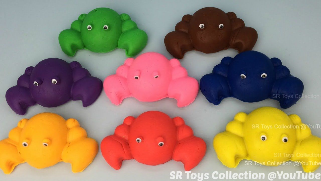 Play Doh Crabs with Mickey Mouse and Minnie Mouse Cutters Fun ...
