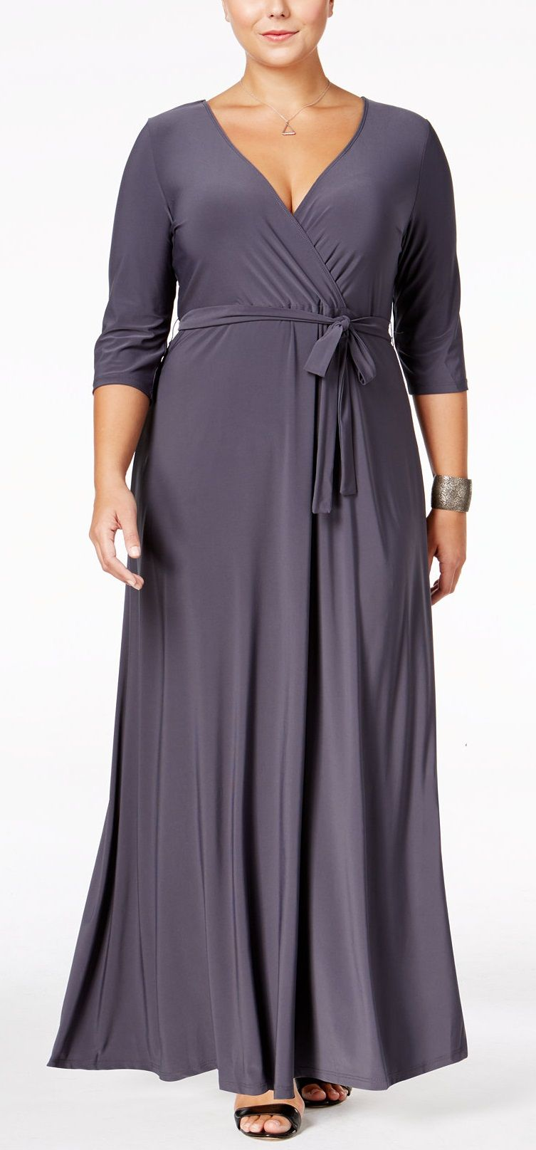 Plus Size Faux-Wrap Maxi Dress | Plus Size Fashion | Pinterest ...