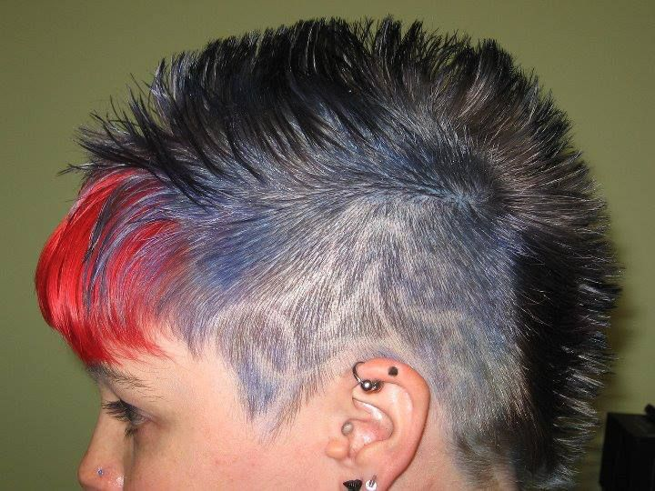 Multi Hair Color Styles: Splat Hair With Awesome Shaved Designs