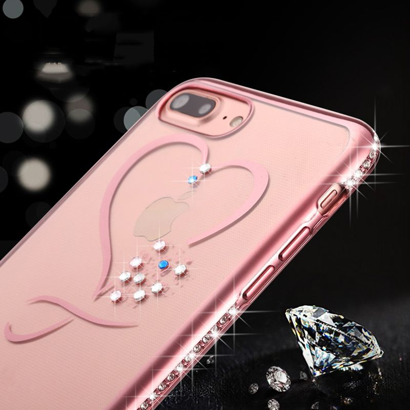 Crystal Phone Cases For Iphone 7 Ultra Thin Clean Soft Tpu Rose Gold Plating Glitter Diamond Cover For Iphone 7 7 Pl Crystal Phone Case Rose Iphone Case Iphone