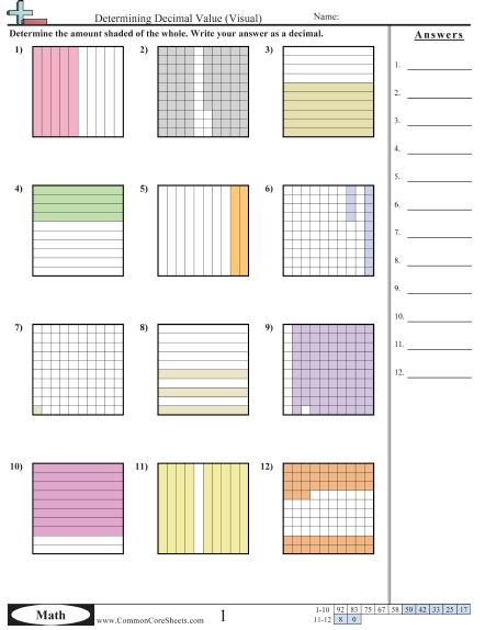 Determining Decimal Value Visual Worksheet Math Pinterest