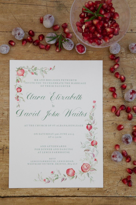 Pomegranate invitation handmade wedding stationery www ...