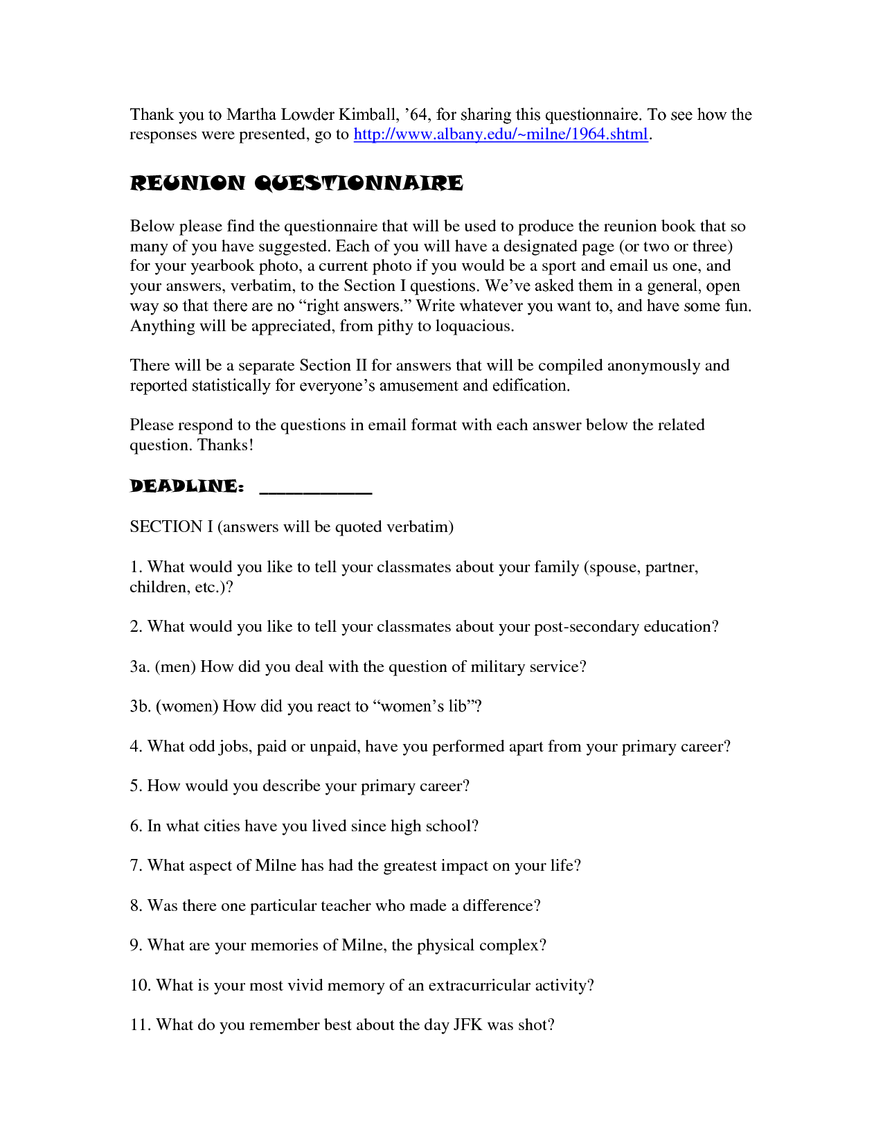 High School Reunion Questionnaire  Reunion Questionnaire  School