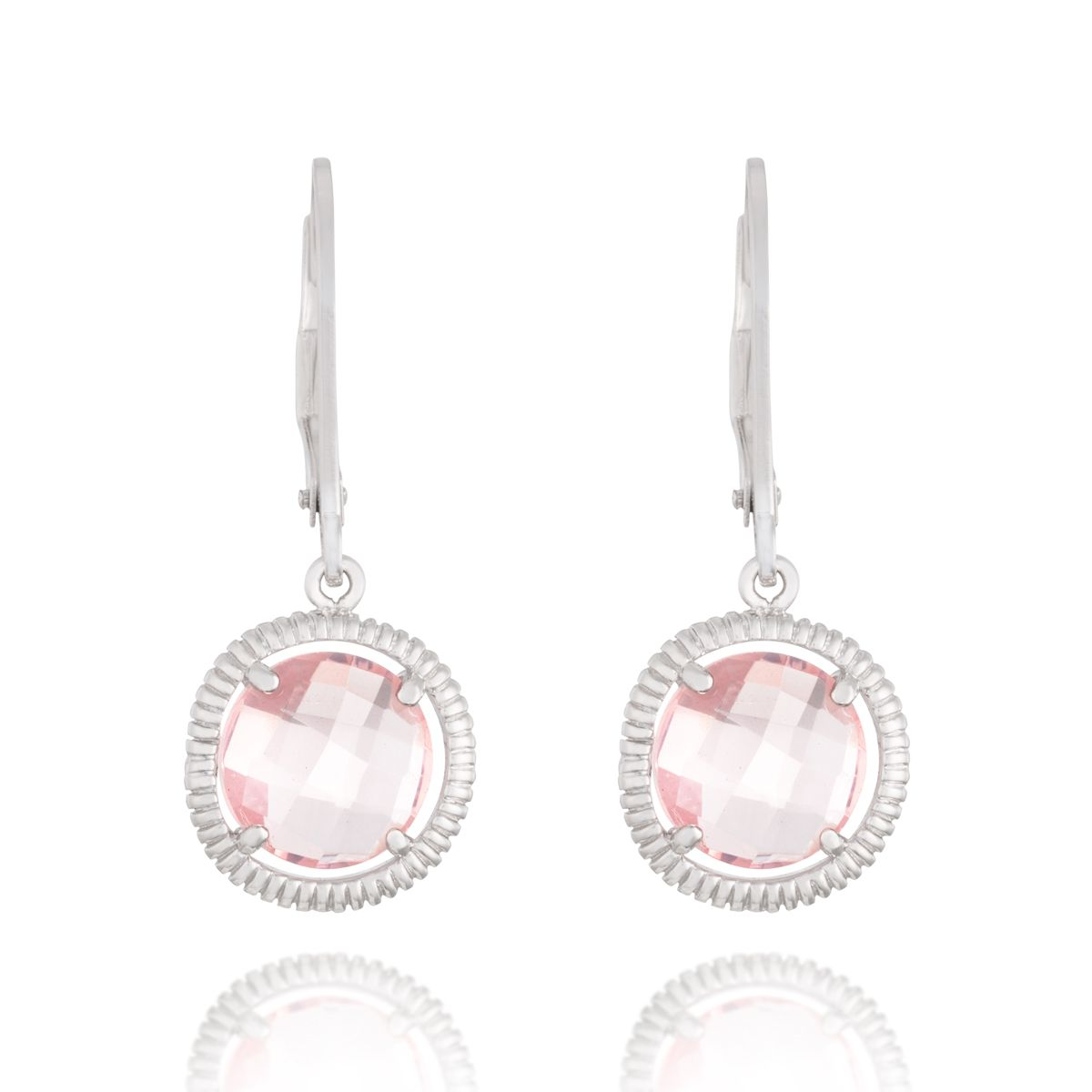 Brinco Prata e Quartzo Rosa Confete Prata