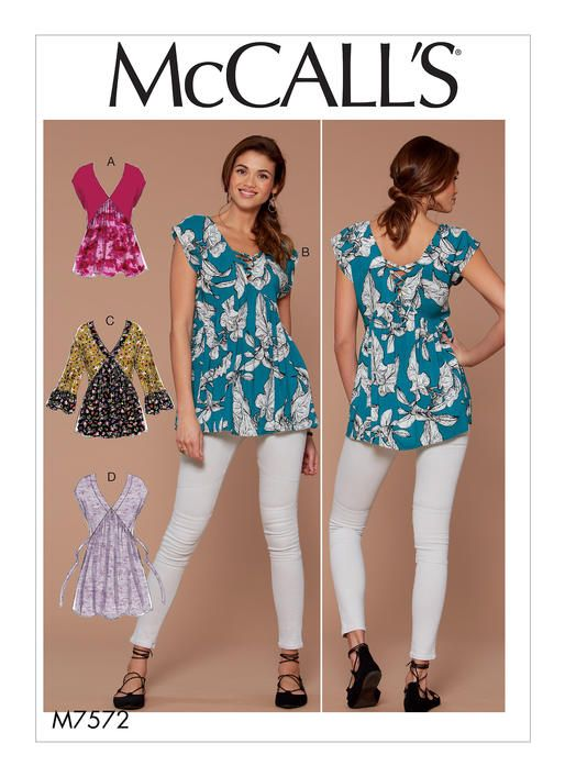 McCall\'s tunic sewing pattern. M7572 Misses\' V-Neck, Gathered Tops ...
