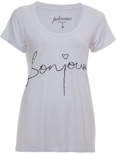 "POLINESIA TEES Camiseta Branca ""Bonjour""."