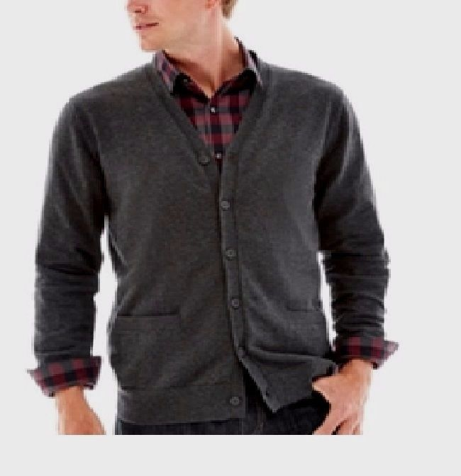 Claiborne Mens Cardigan Sweater Cotton Cashmere Blend Charcoal ...