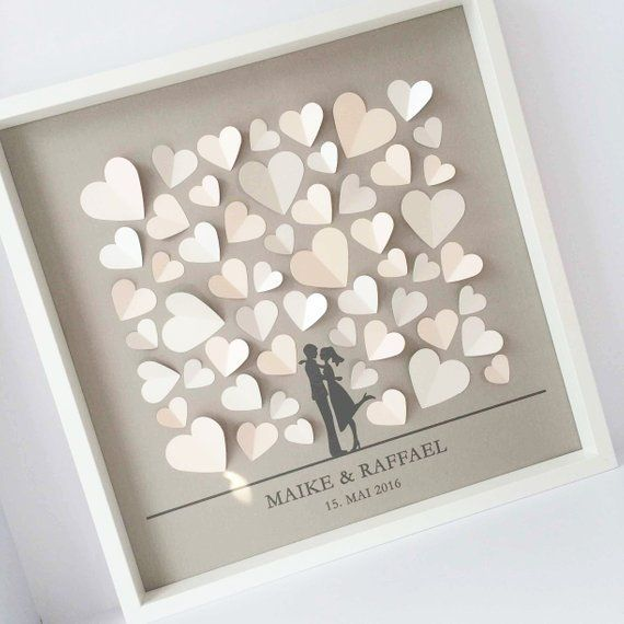 3d Wedding Guestbook, guestbook, wedding, hearts, frames, exceptional, wedding gift, bridal couple, set for self-adhesive, DIY – coverstyless