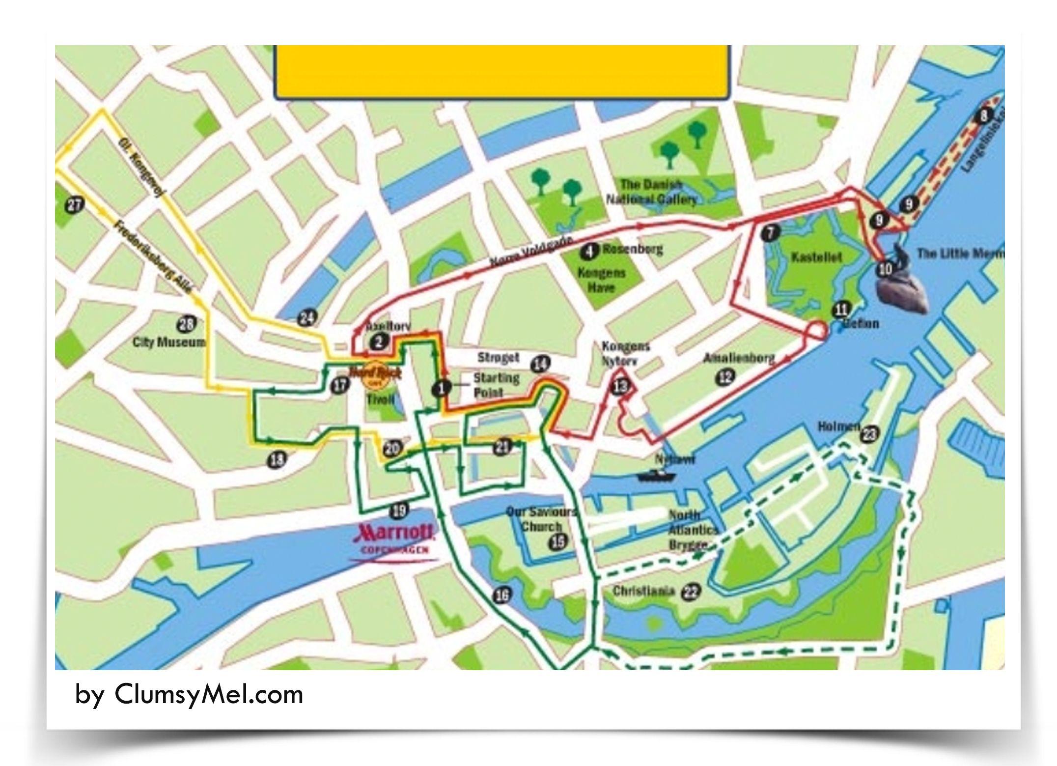 Copenhagen city tour map walking tour denmark Maps Clocks