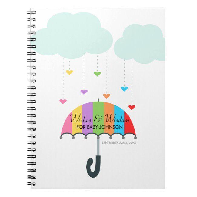 Rainbow Umbrella Neutral Baby Shower Guest Book   Baby ...