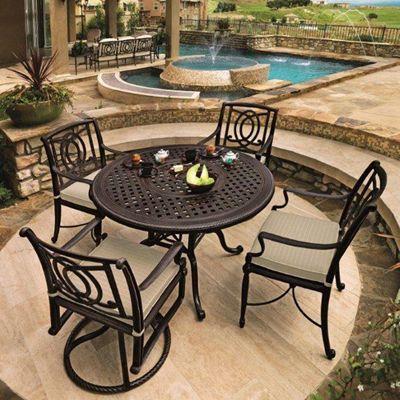 Gensun Patio Furniture | Bel Air Cast Aluminum Cushioned Patio Groupings   American  Sale