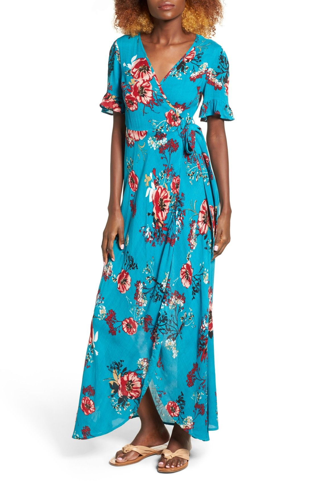 Free shipping and returns on Band of Gypsies Floral Wrap Maxi Dress ...