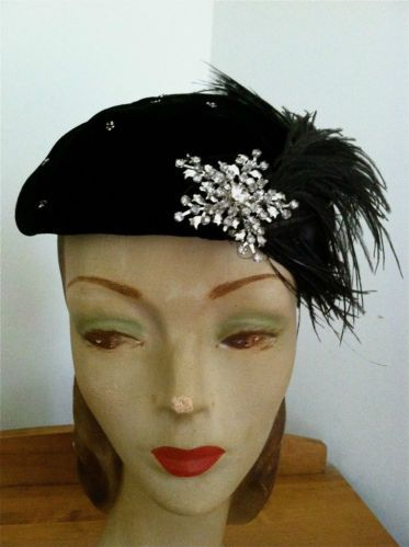 af2b8f9bcd548 (1920-1938) BLACK VELVET AND OSTRICH FEATHERS BERET - Some beading  throughout the hat with rhinestone brooch pin attached By Betmar