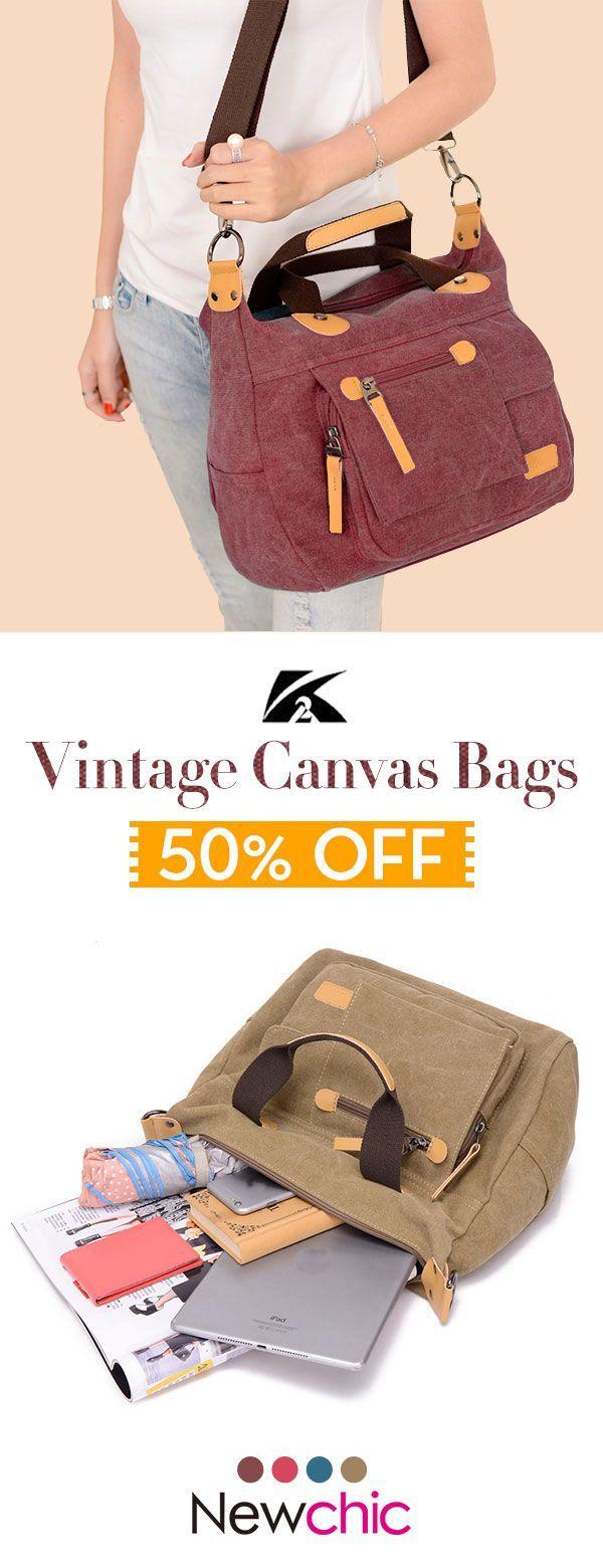 【US$29.86】KVKY Front Pockets Canvas Tote Handbags Vintage Shoulder Bags #can... 【US$29.86】KVKY Front Pockets Canvas Tote Handbags Vintage Shoulder Bags #canvasbags #travelbags #summerbag  #Front #Pockets #Canvas #Tote #Handbags