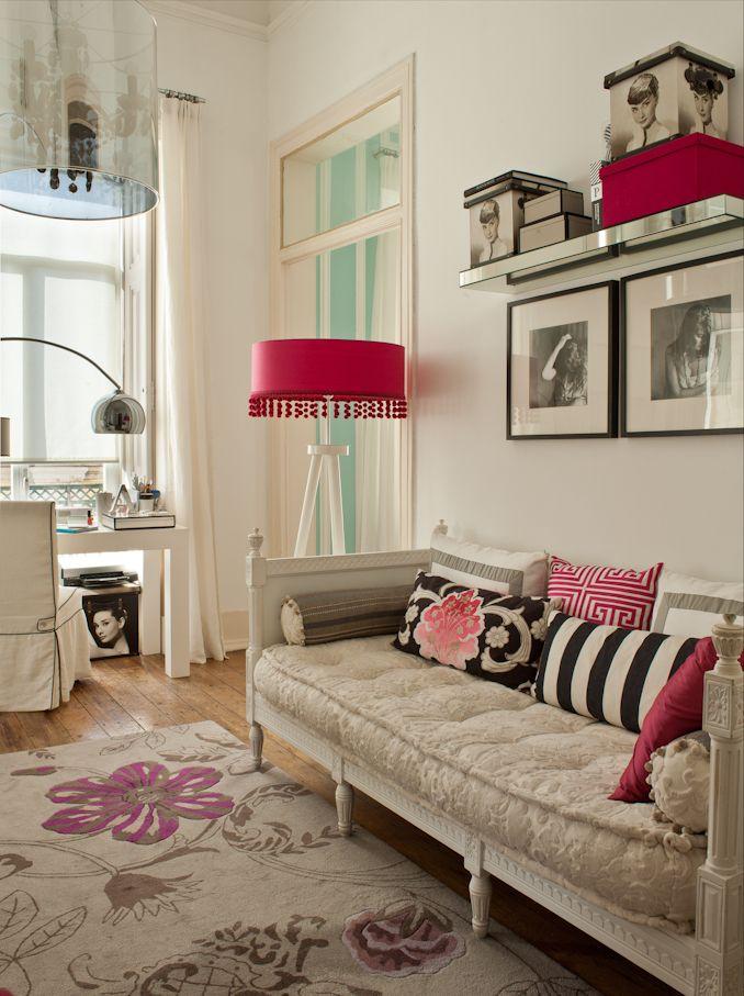 office - black & white, pink details, designer's guild rug, designer's guild fabrics#floral rug#decor