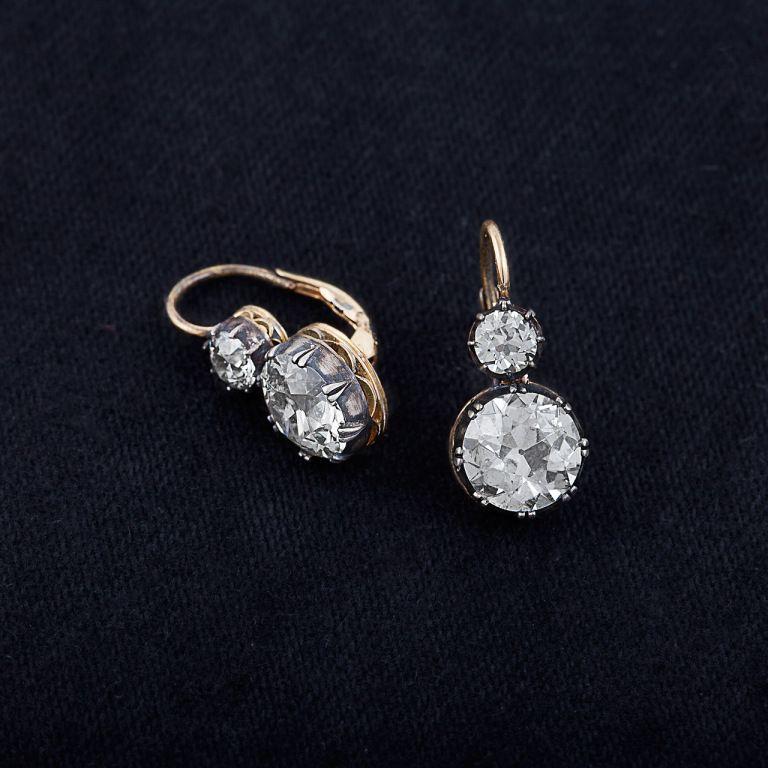 Diamond Gold Silver 2 Stone Earrings