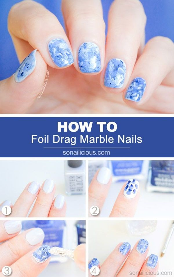 50 Quick Nail Art Ideas For Office Women Woman Marble Nail Art