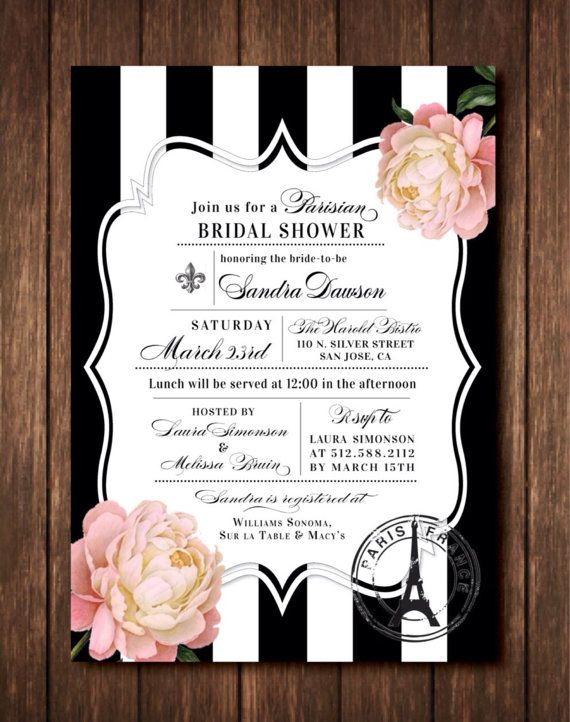 parisian french themed bridal shower invitations eiffel tower fleur de lis paris france black white striped or free custom colors pink peony or