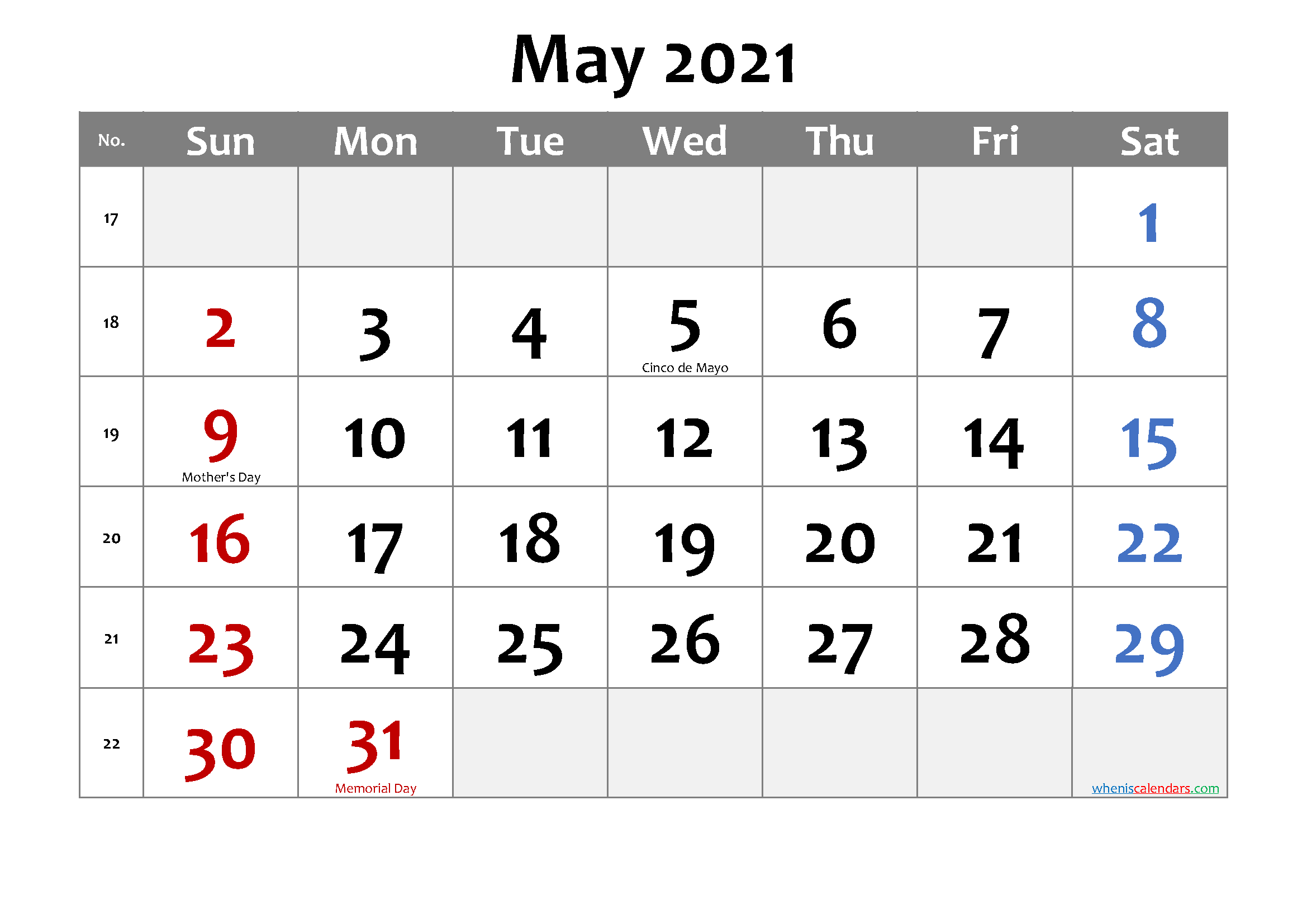 Images of May Calendar 2021 Pdf