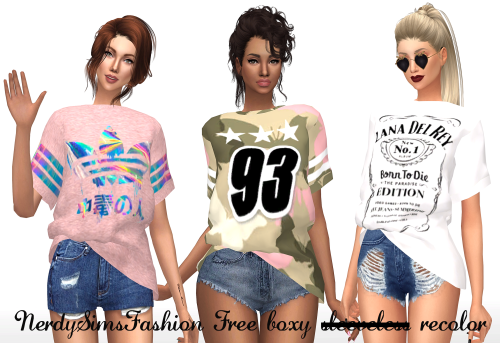 Sims 4 CC's - The Best: Shirts & Bags Recolors by NerdySimsFashion