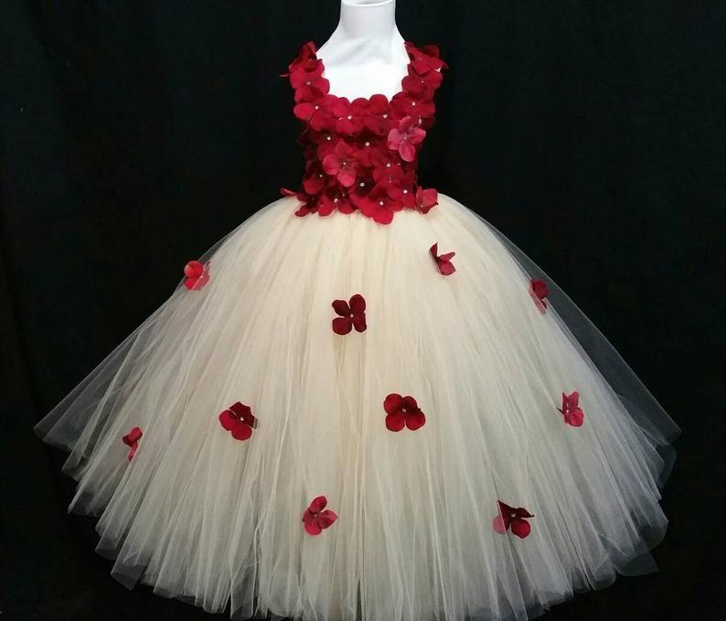 White Wedding Gown Hydrangea: Champagne & Red Hydrangea Flower Dress/ Flower Girl Dress