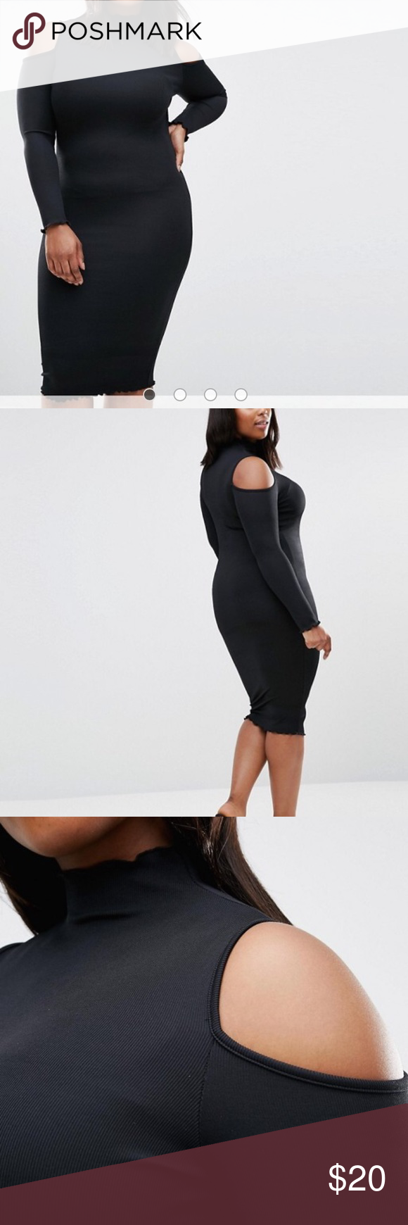 Asos cold shoulder long sleeve black dress my posh closet