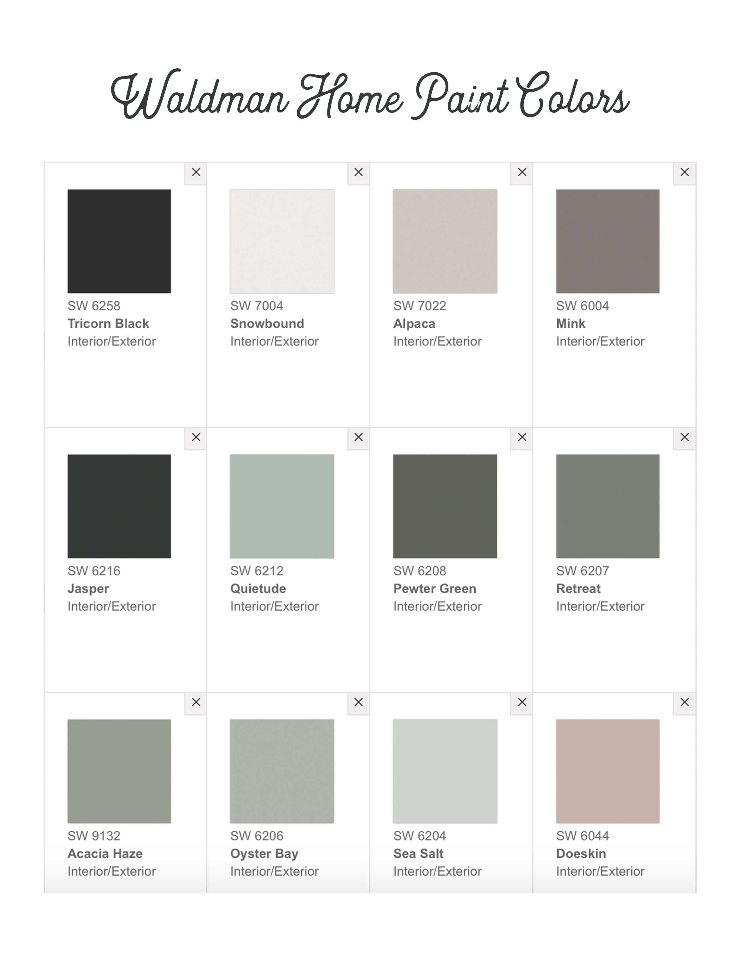 Home Paint Color Scheme Or Palette From Sherwin Williams In 2020 Paint Colors For Home Sherwin Williams Color Palette House Color Palettes